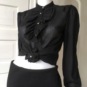 Sheer ruffle Black striped blouse sm